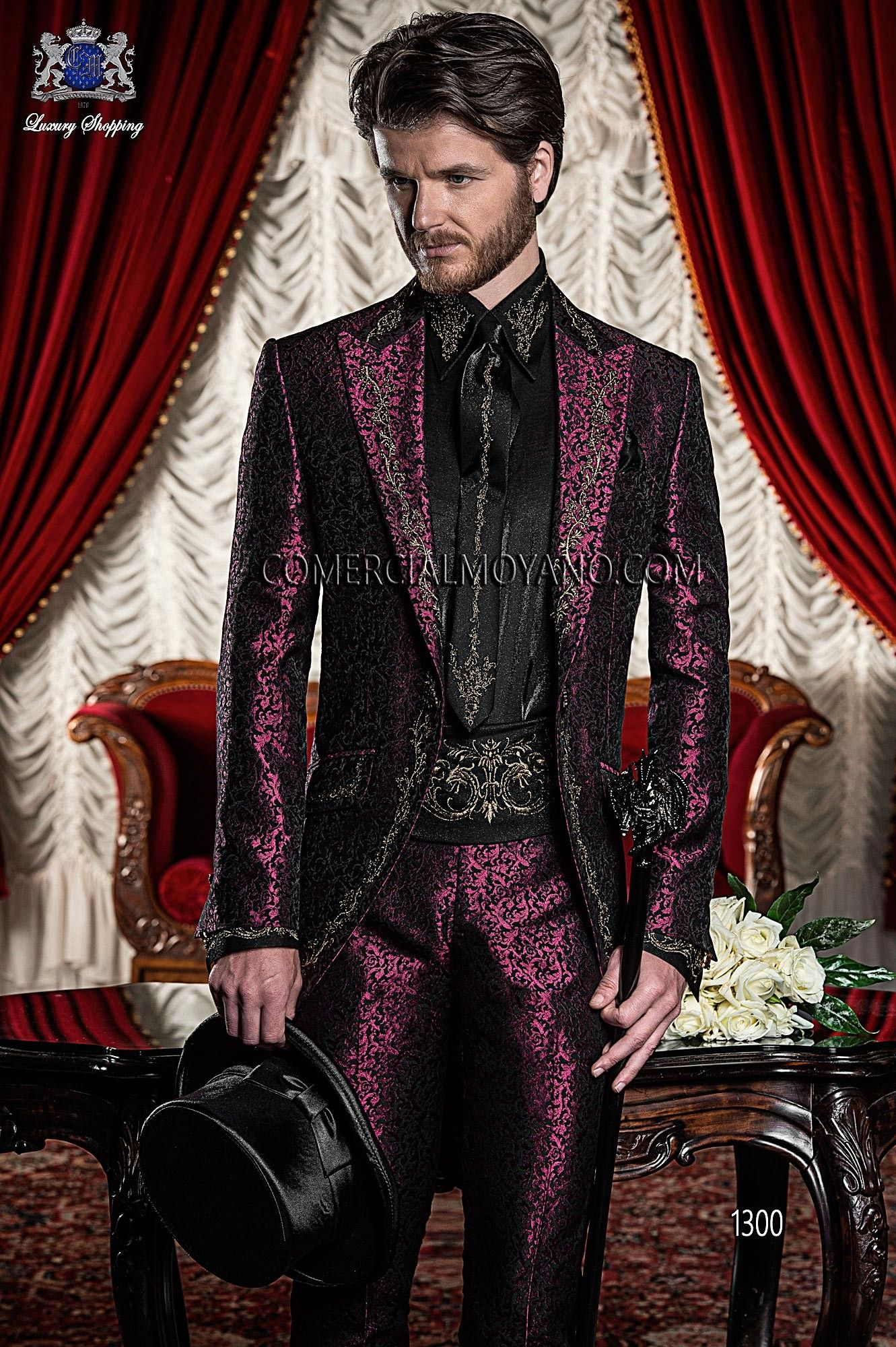 BAROQUE ITALIAN BURGUNDY/BLACK WEDDING SUIT Model 1300 OTTAVIO ...