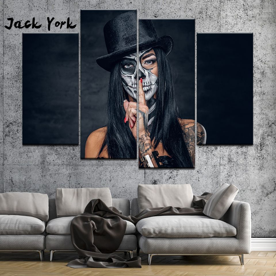 Canvas Painting Girl Skull Tattoos 4 Pieces Wall Art Painting Modular Wallpapers Poster Print Home Decor Free Shipping In 2020 Skull Wall Art Girls Wall Art Skull Painting