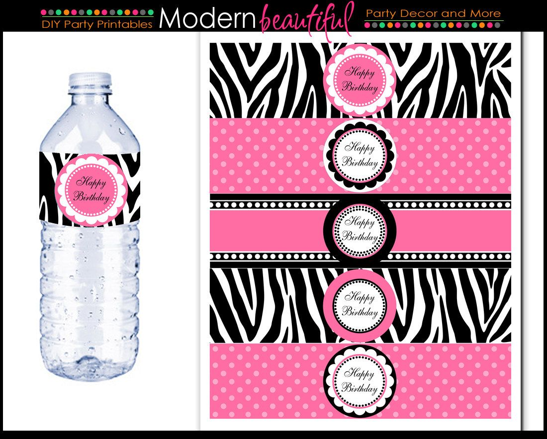 Zebra Water Bottle Labels Black And Hot Pink Chic Printable Bachelorette Happy Birthday Best
