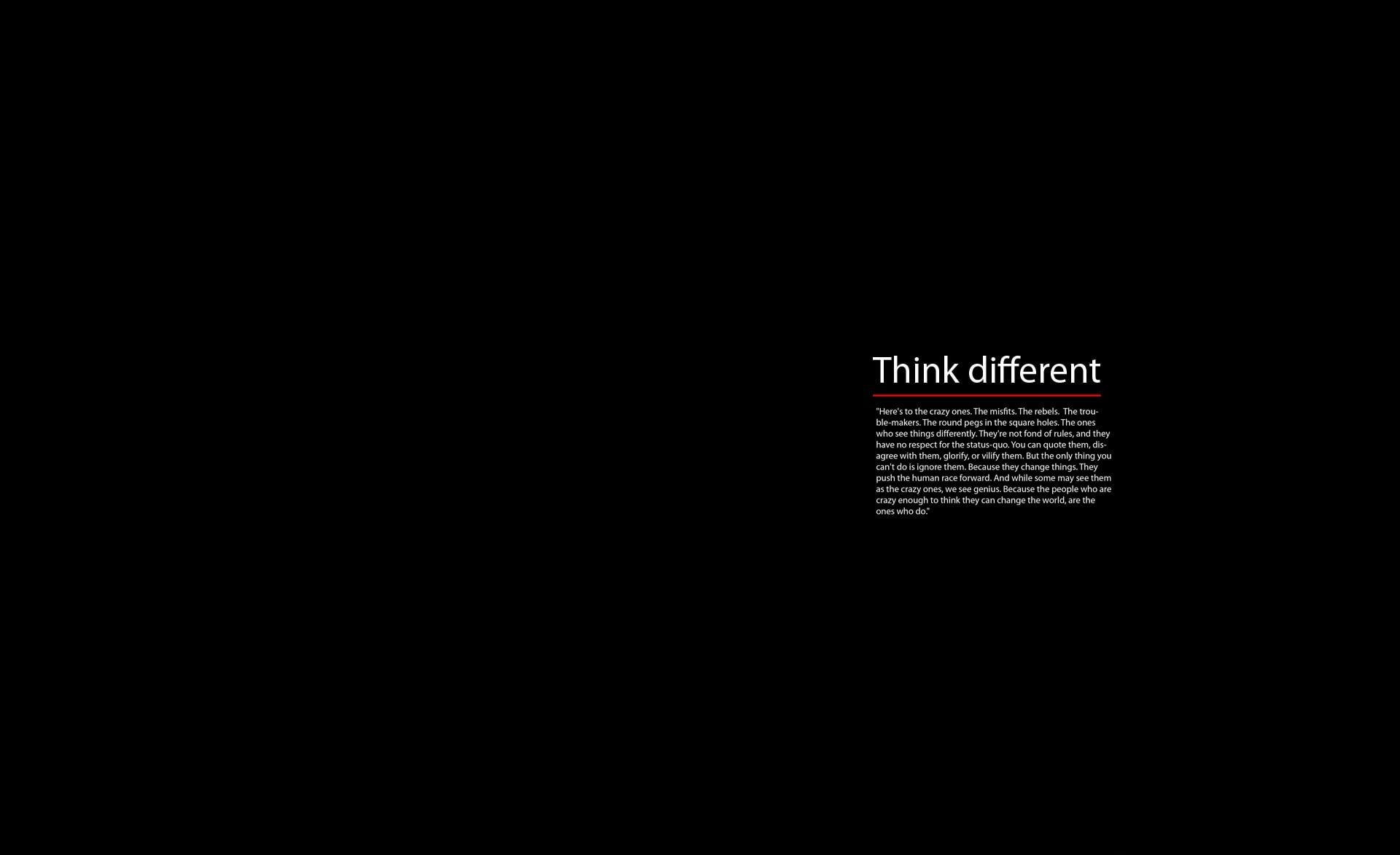 Think Different Black Background With Text Overlay Computers