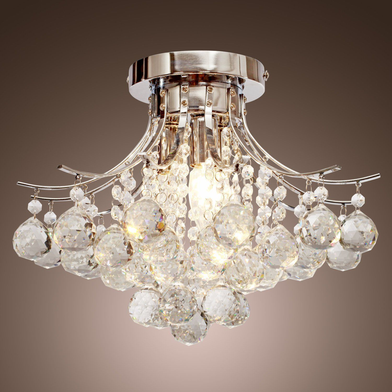 Amazon chrome finish crystal chandelier with 3 lights mini amazon chrome finish crystal chandelier with 3 lights mini style flush mount aloadofball Images