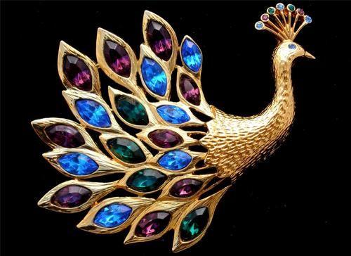 Trifari TM Figural Peacock Purple Blue Green Rhinestone Gold Brooch Vintage | eBay