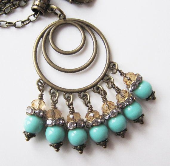 Turquoise blue necklace, by romanticcrafts, $19.00