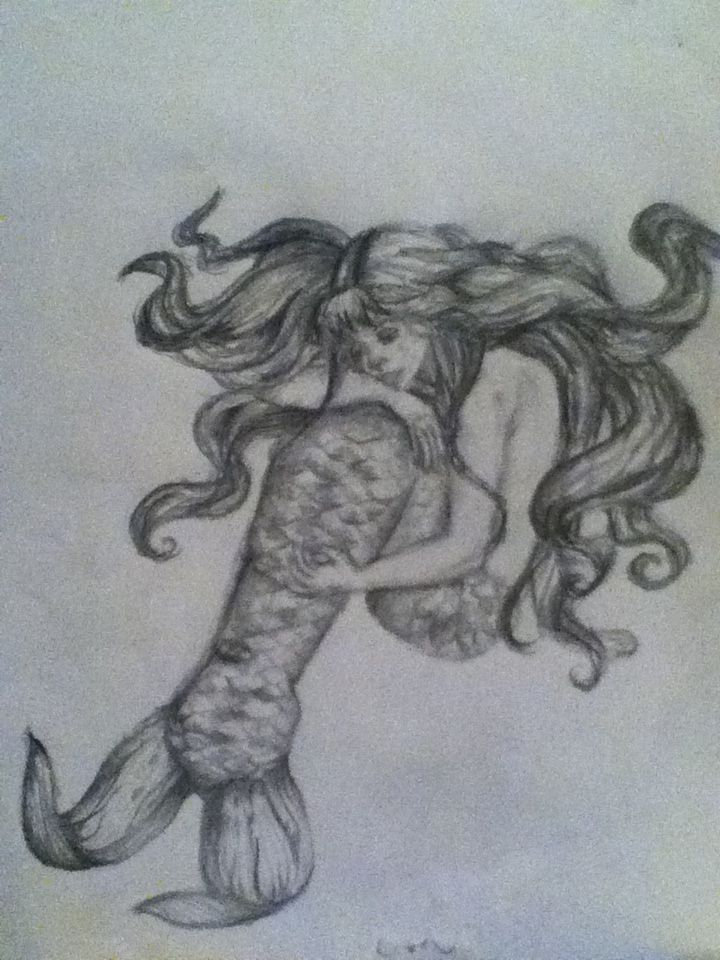 Mermaid pencil drawing | Things To Draw | Pinterest