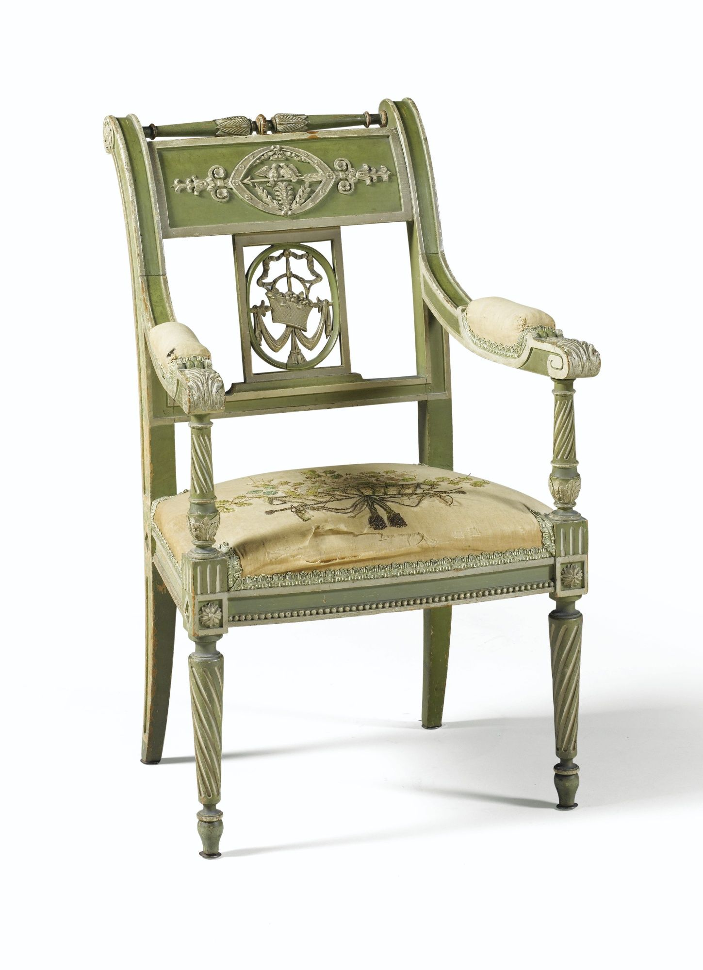 France Small Green And Cream Painted Armchair In Directoire Style