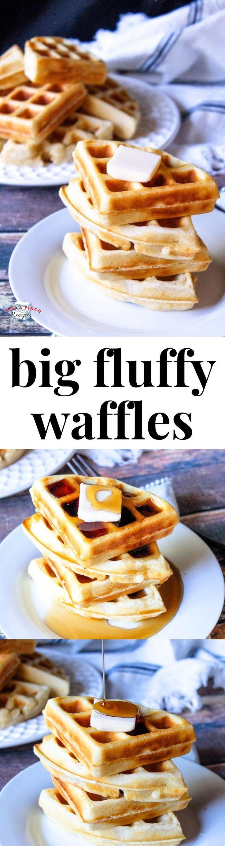 Big Fluffy Waffles Recipe Fluffy Waffles Homemade Waffles Waffles