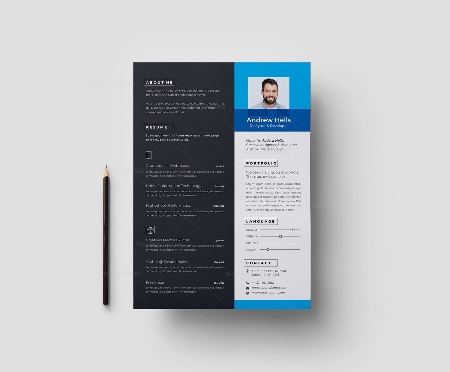A4 stylish resume template 002971 template catalog