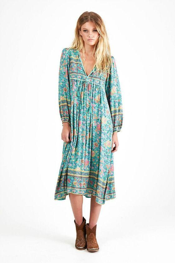 fd3959385f1d Spell Folk Town Boho Dress In Turquoise | Neon Gypsy | Oblečenie