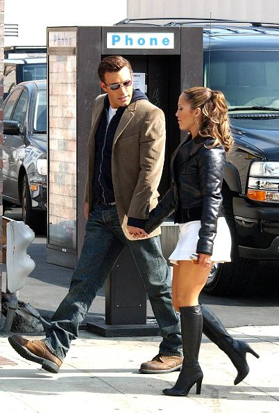 d8729ade03 Jennifer Lopez and Ben Affleck on the set of 'Jenny From The Block', Lopez's  new music video in which Affleck makes a special appearance.