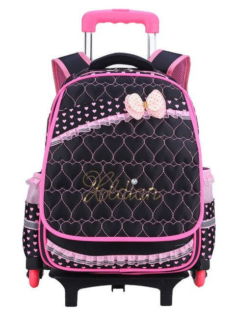 Nylon waterproof children school wheeled bag kids trolley backpack mochila  infantil escolar feminina for teenagers girls 86ed50cf5a