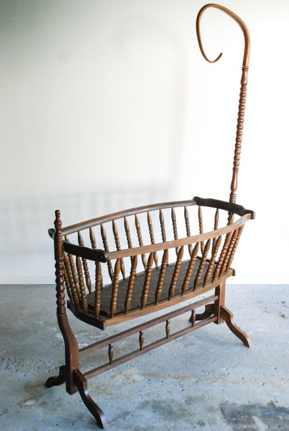 Antique Crib Swinging Bassinet Gorgeous Antique