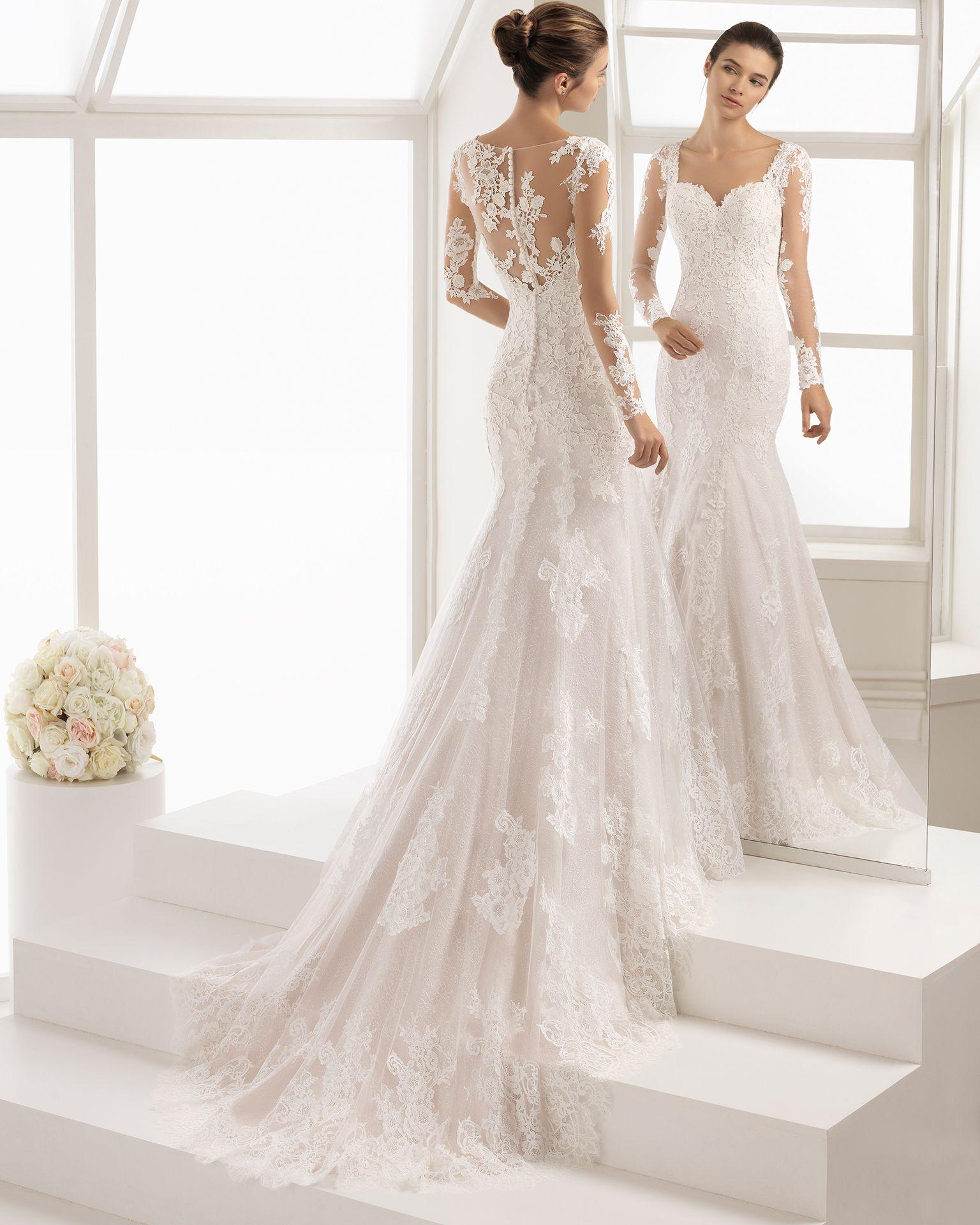 Vestido de novia encaje escote corazon