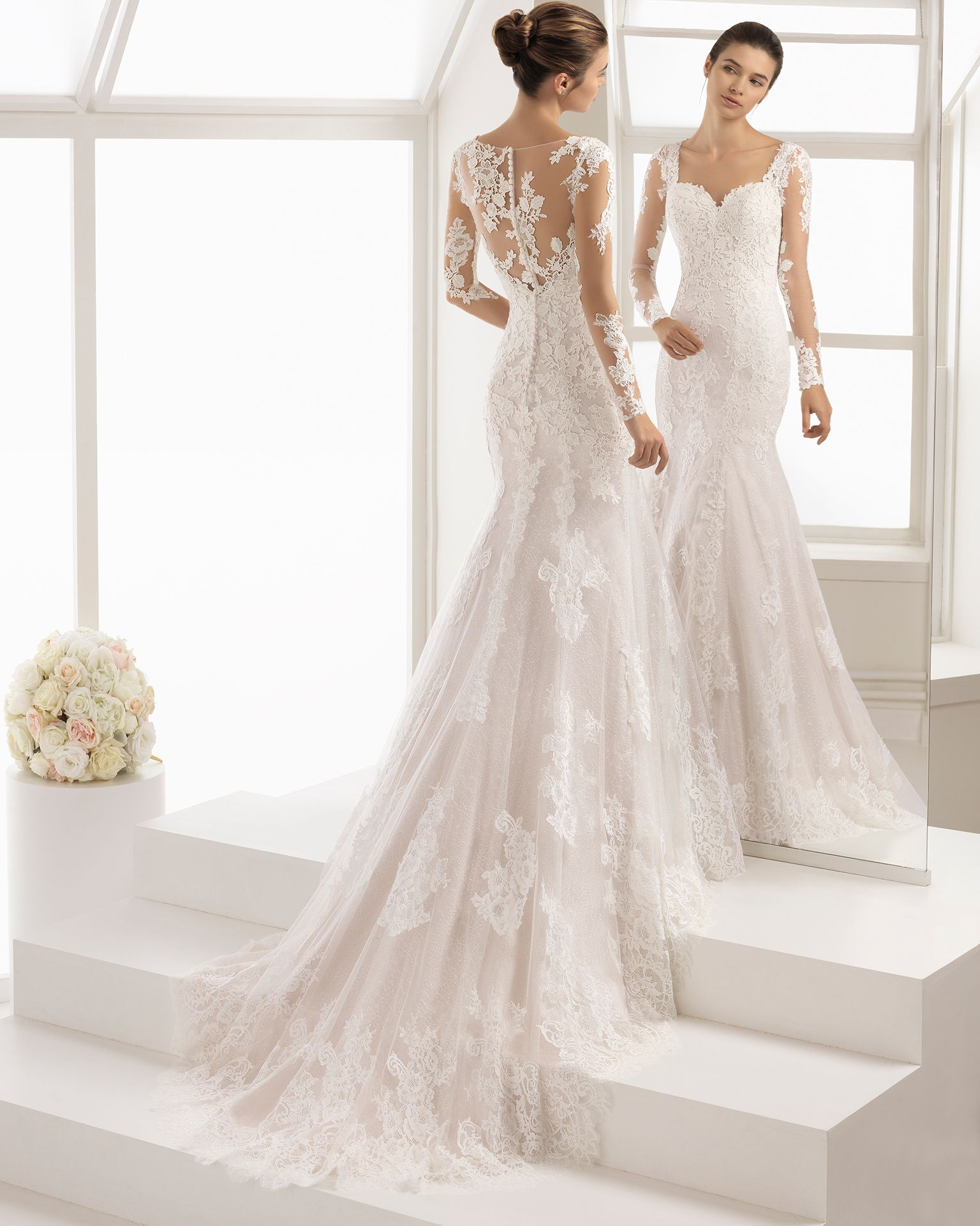 Vestido de novia estilo romántico en encaje y guipur con manga larga ...