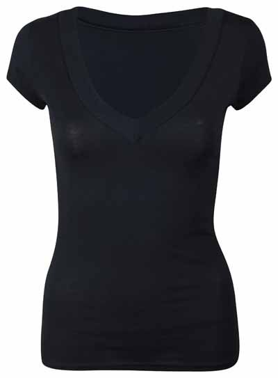 4be556ca1b589 LADIES SHORT CAP SLEEVE PLAIN TOP WOMENS NEW STRETCH FITTED V NECK BASIC  T-SHIRT