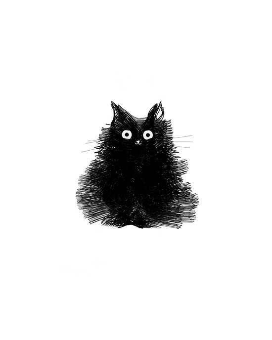 Black Cat Drawing Illustration Cute Surprised Fluffy Kitty Print - Duster #black