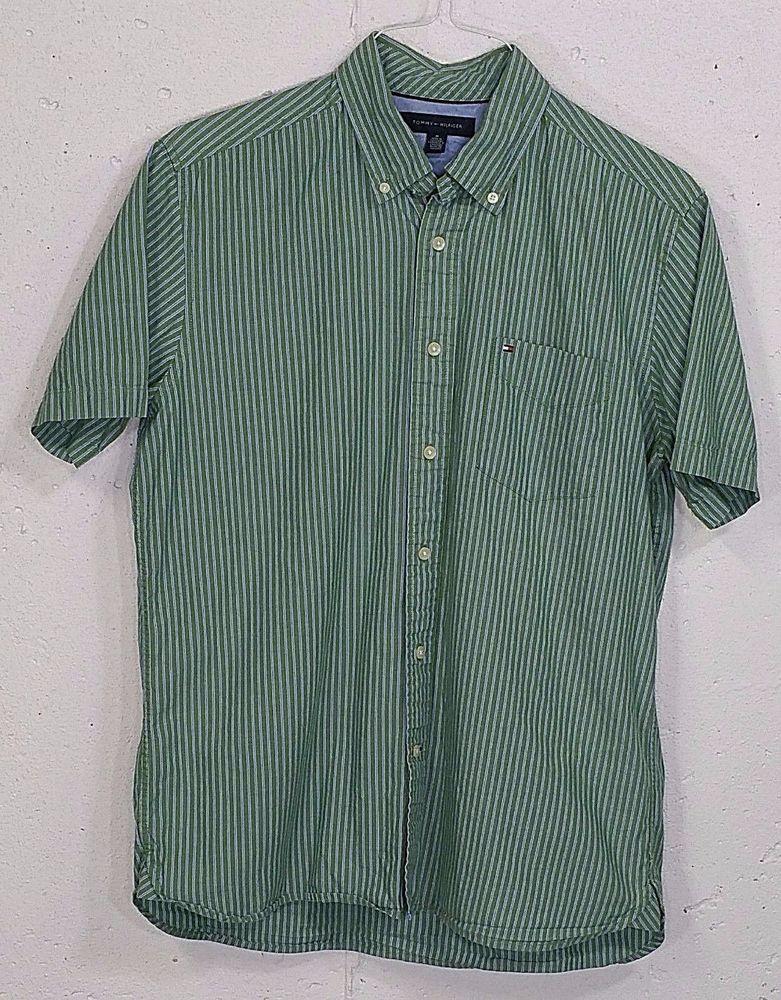 ed539f25125a Tommy Hilfiger Mens Green Striped Short Sleeve Button Down Pocket Shirt  Medium M  TommyHilfiger  ButtonFront