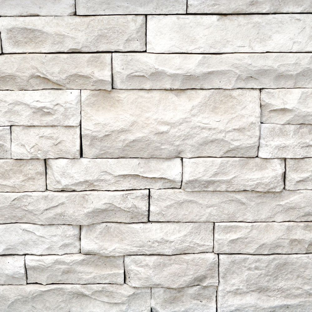 Stone Veneer White : Manufactured stone mortarless light ledge siding