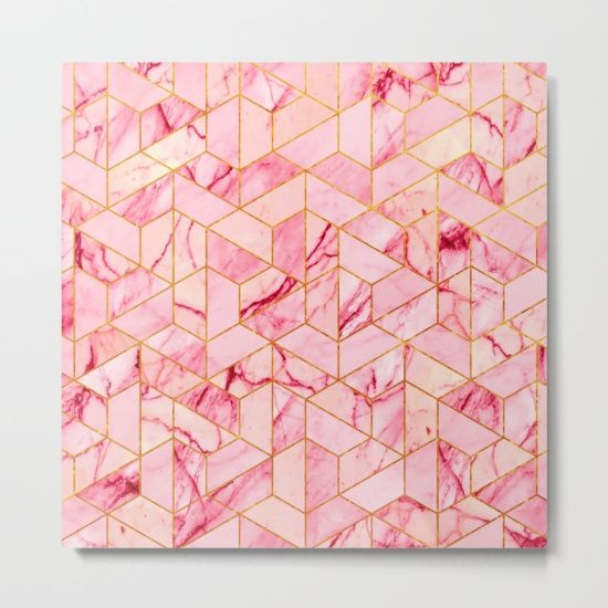 Our Metal Prints Are Thin Lightweight And Durable 1 16 Aluminum Sheet Canvas The High Gloss Finish Enhances Color A Hexagon Pattern Pink Marble Metal Prints