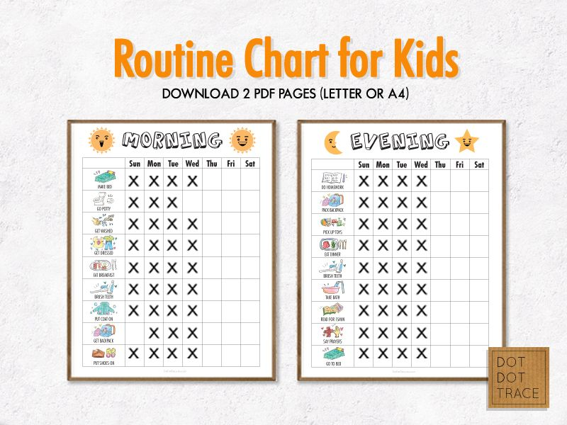 printable daily routine chart for kids kid s routine charts kid s to
