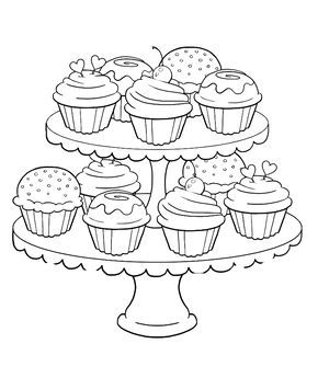 Birthday Cupcake Steady And Delicious Coloring Page Birthday Cupcake Coloring Pages Candy Coloring Pages Birthday Coloring Pages