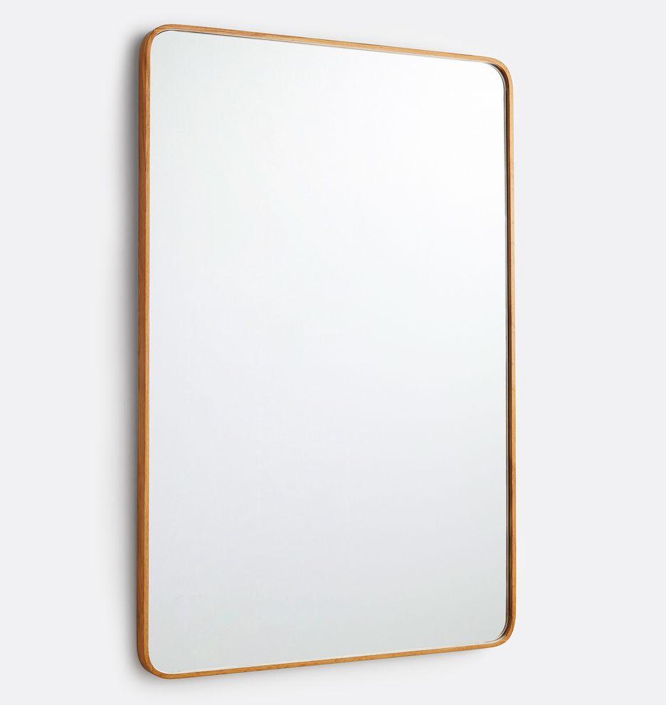 24 X 36 Solid White Oak Rounded Rectangle Mirror With Images Rectangle Mirror Rounded Rectangle Solid White