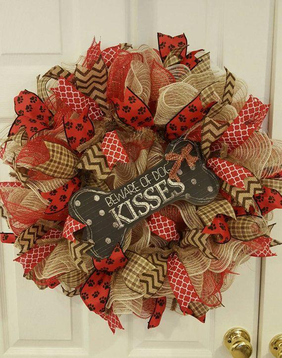 Christmas Mesh Dog Wreath with Ribbon