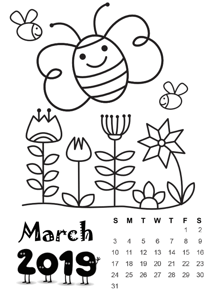 2019 Calendar Standart Printable Boyama Sayfalari Okul Ve Okul