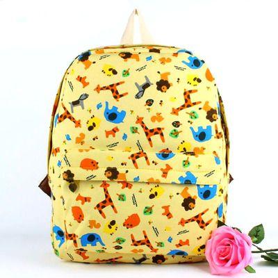 Chic cute elephant giraffe animal print canvas backpack