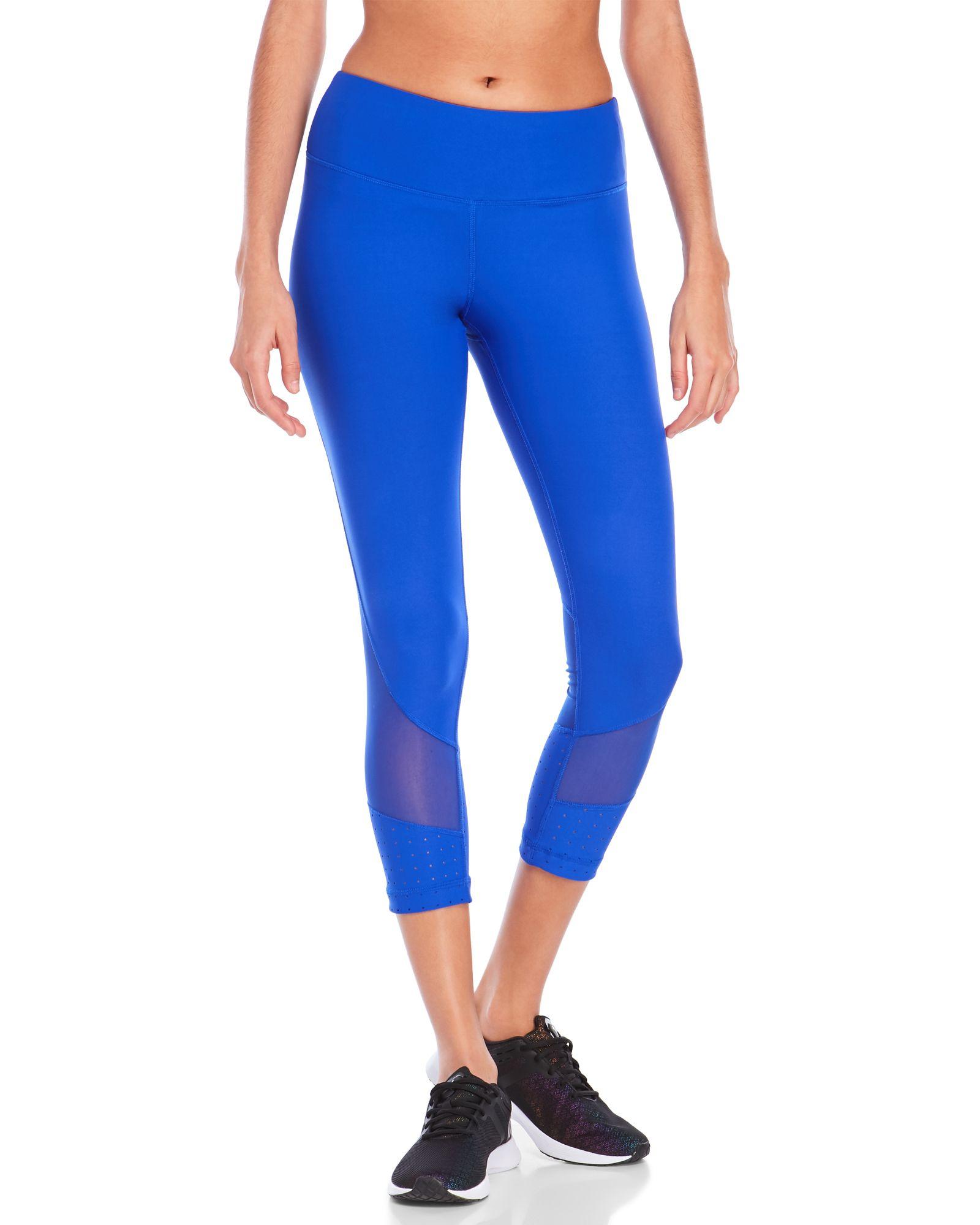 ecd2ccbd0e 90 Degree By Reflex Royal Blue Mesh & Perforations Cropped Leggings