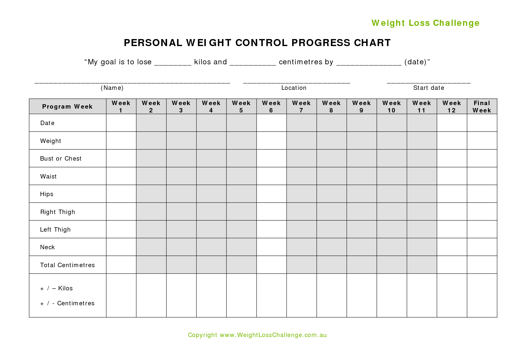 weight loss challenge chart