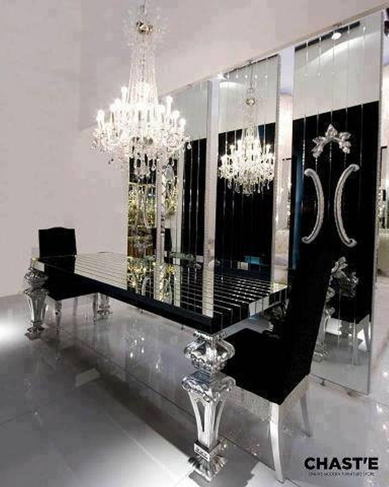 Black And Silver Dining Table Luxury Buffet Laid Out