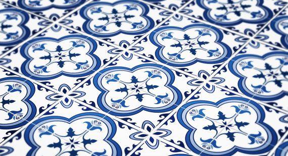 Portuguese Tiles - Tile Decals - Flooring - Tile Stickers - Wall Tiles - Vinyl floor - Floor Tiles - bathroom- kitchen- PACK 24 - SKU:PORTL