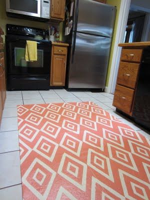 Diy Painted Kitchen Rug Floor Cloth Painted Floor Painted Floor Cloths