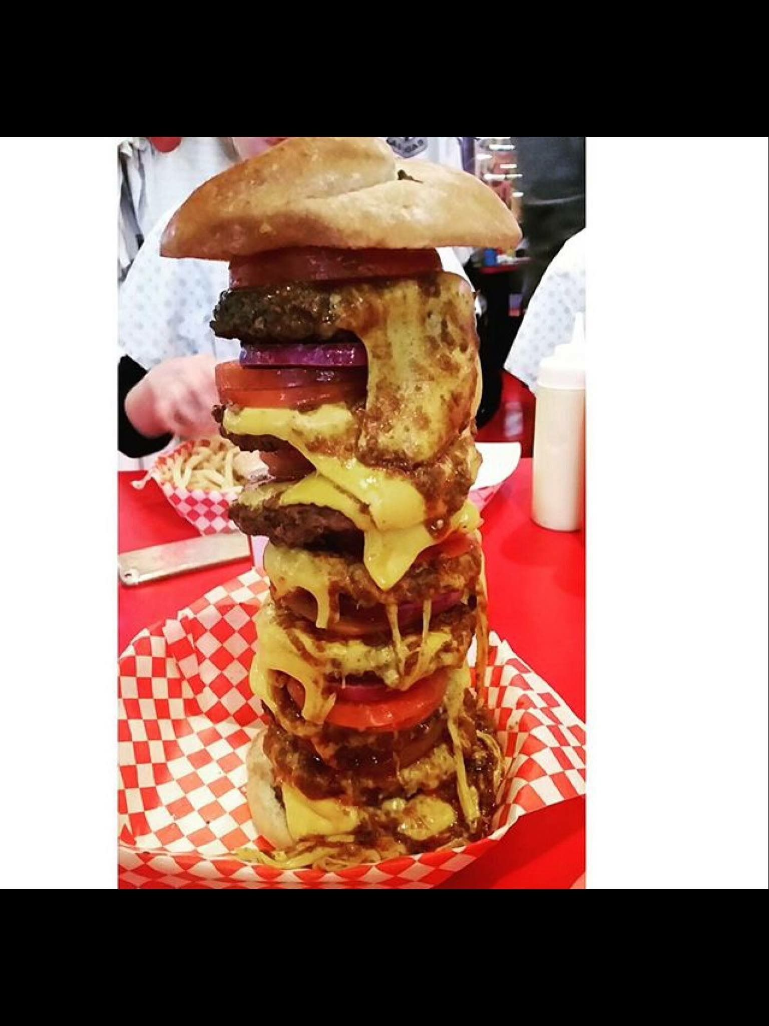Double Quadruple bypass burger in downtown Las Vegas, Nevada at The Heart Attack Grill!