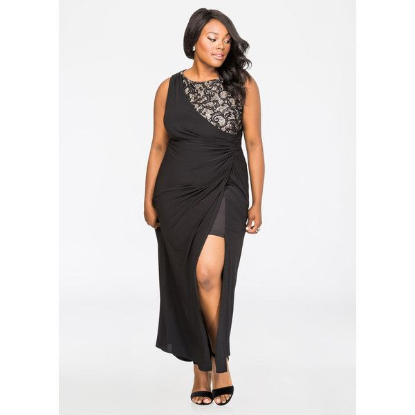 Ashley Stewart Sequin Lace Inset Special Occasion Gown Black ($44 ...