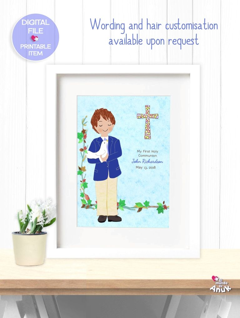 Boy First Communion Gift, Communion Keepsake, Print