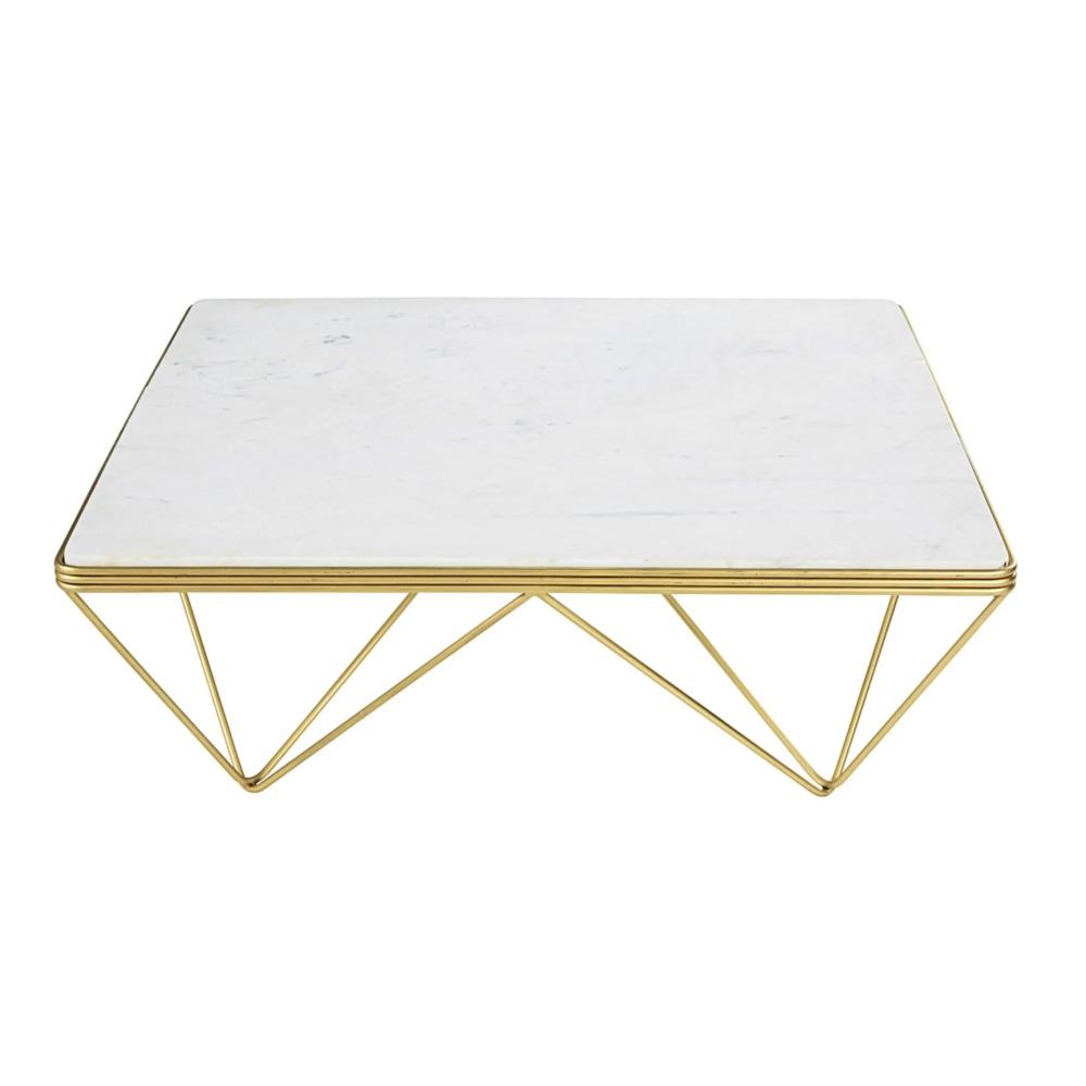 Table Basse Carree En Marbre Et Metal Dore Gatsby Maisons Du Monde En 2020 Table Basse Table Basse Carree Table Basse Marbre Blanc