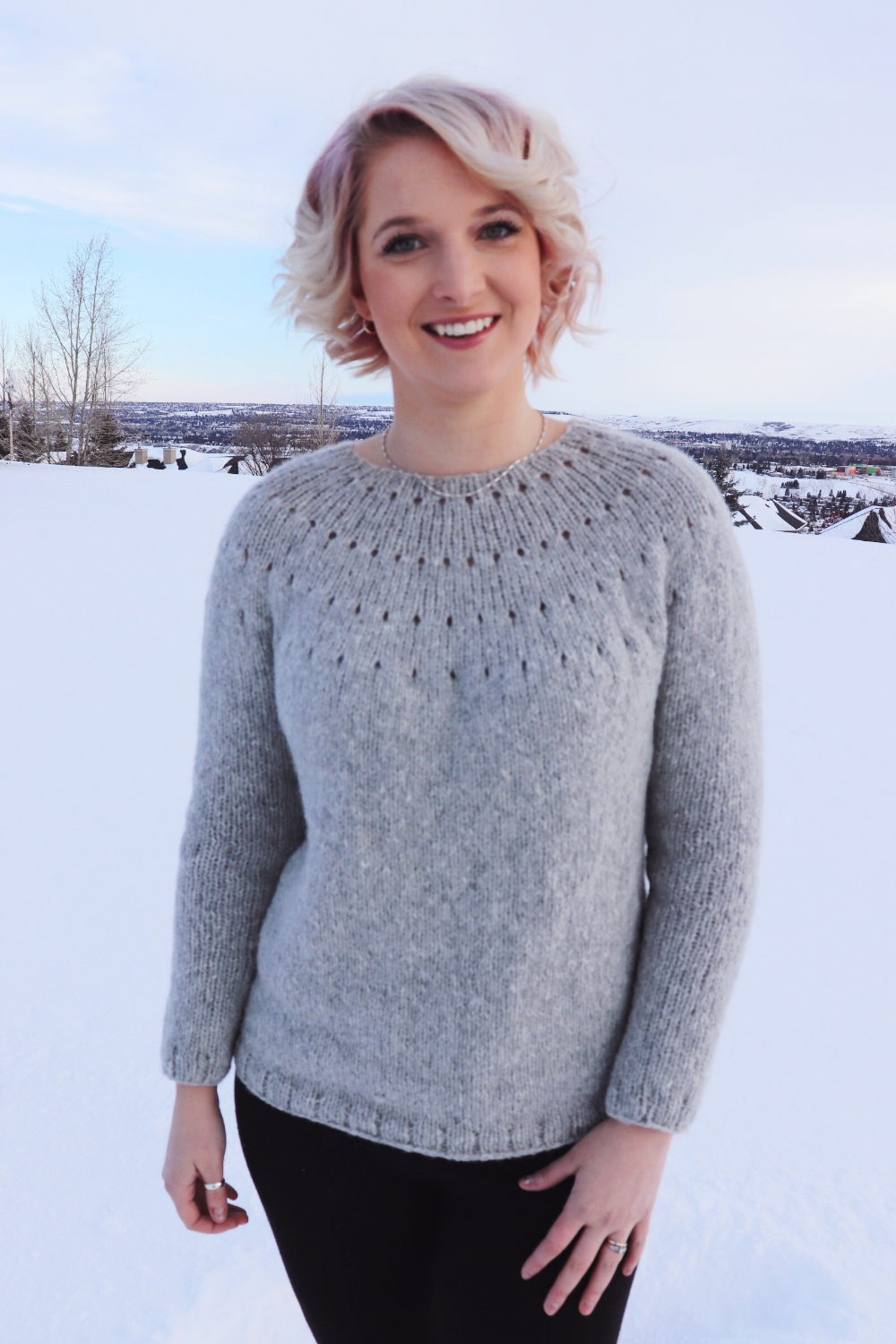 Photo of Knit Kit – Easy Eyelet Yoke Sweater