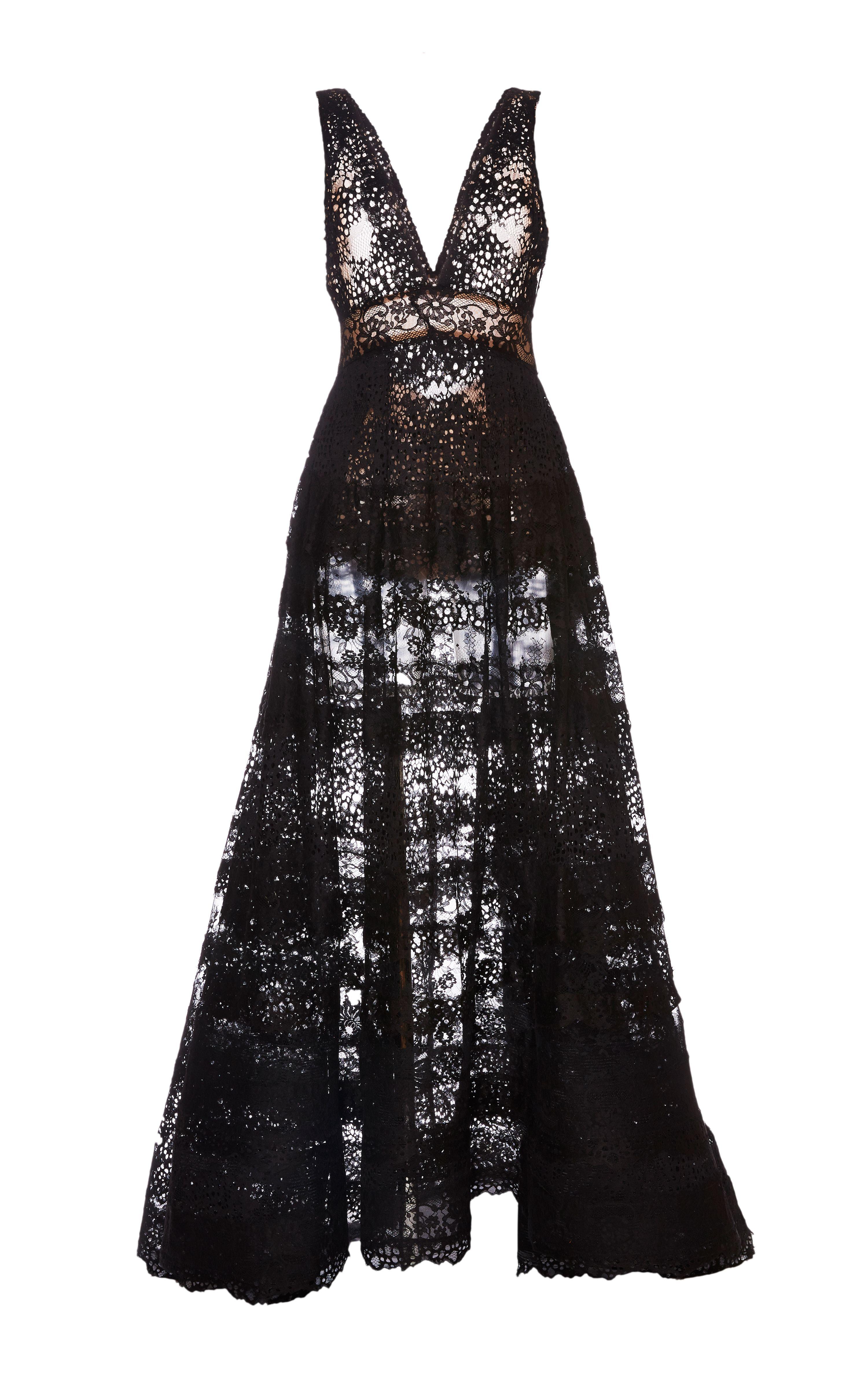 V neck black lace dress  Black Lace Deep VNeck Gown by Elie Saab for Preorder on Moda