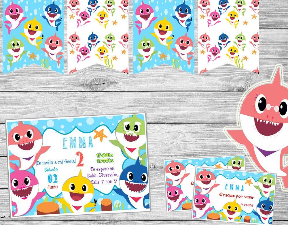 Kit Imprimible Baby Shark Cumpleaños Candy Bar Kit