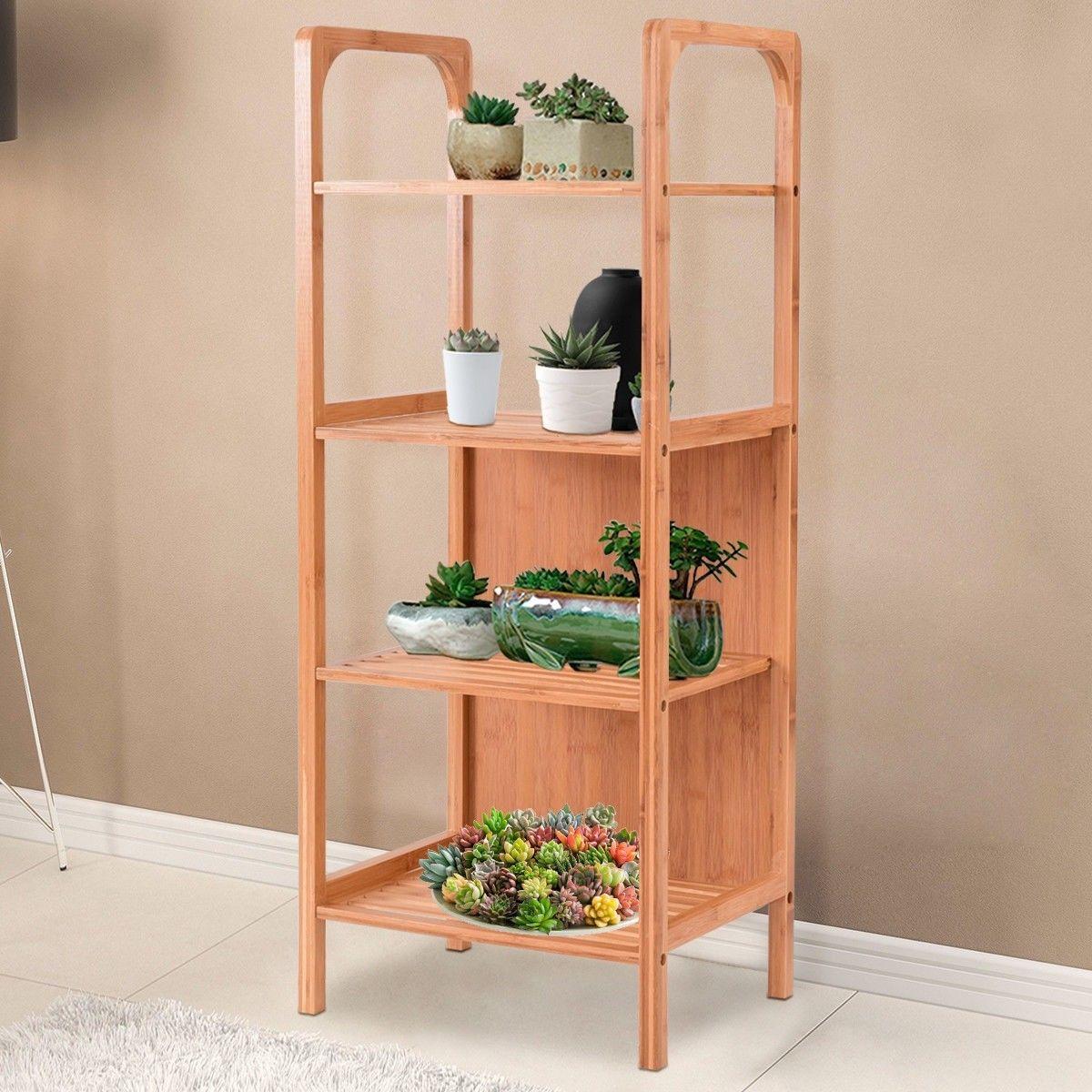4 tiers bamboo bathroom shelf storage unit tower rack home rh pinterest com