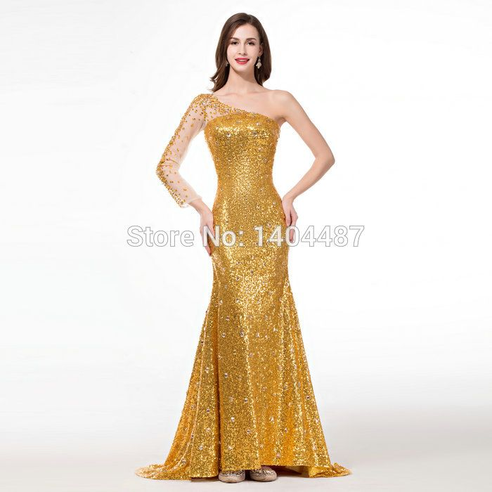 Aliexpress Buy Gold Mermaid Dresses With Stones One Shoulder