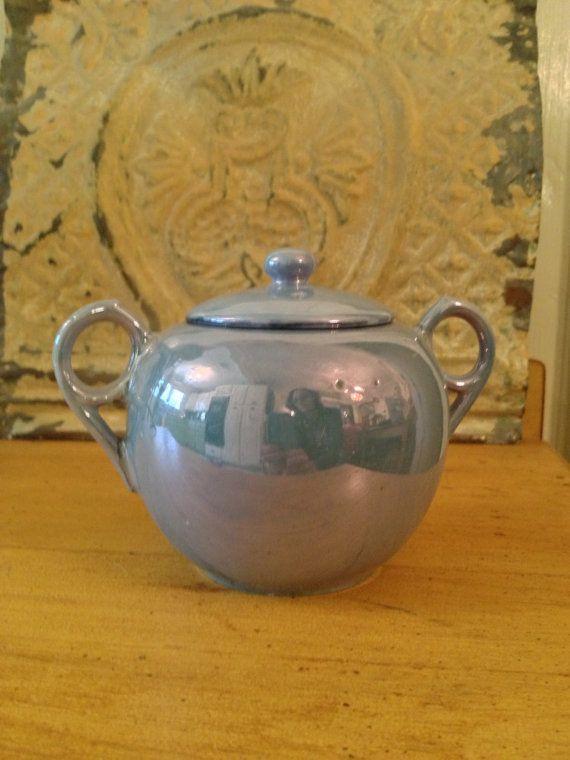 Vintage Lusterware Sugar Bowl by CircaTime on Etsy, $8.95