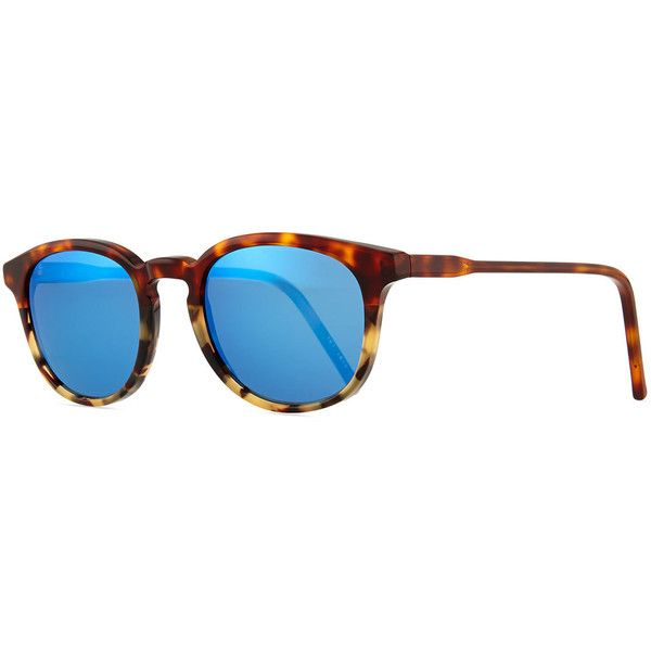 KYME Anto Round Colorblock Mirror Sunglasses ($230) ❤ liked on Polyvore featuring accessories, eyewear, sunglasses, blue blocking glasses, round mirror sunglasses, round mirrored sunglasses, blue sunglasses and round tortoise sunglasses