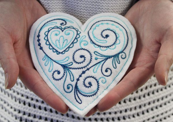 Winter Hand Warmer Heart (In-the-Hoop) design (X12097) from www.Emblibrary.com