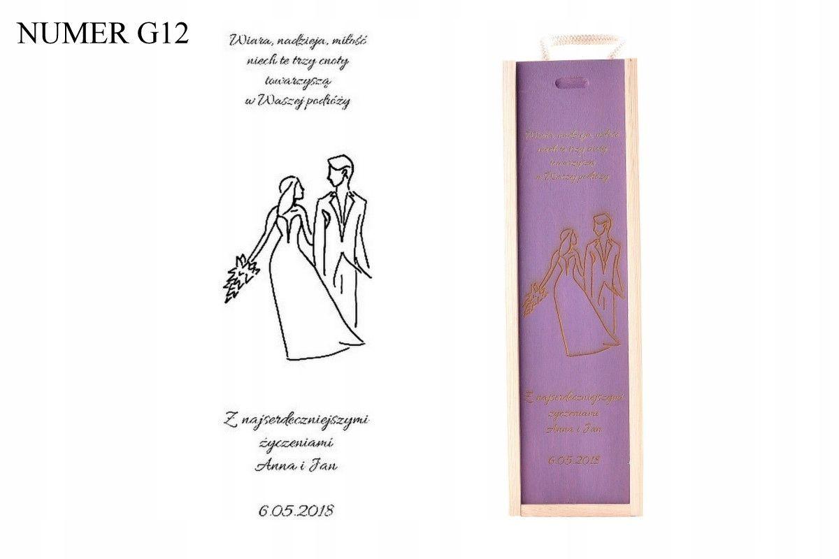 Skrzynka Grawerowana Prezent Skrzynka Na Wino Slub 7550844500 Oficjalne Archiwum Allegro Gifts For Wine Lovers Wood Wine Box Wine Gift Boxes