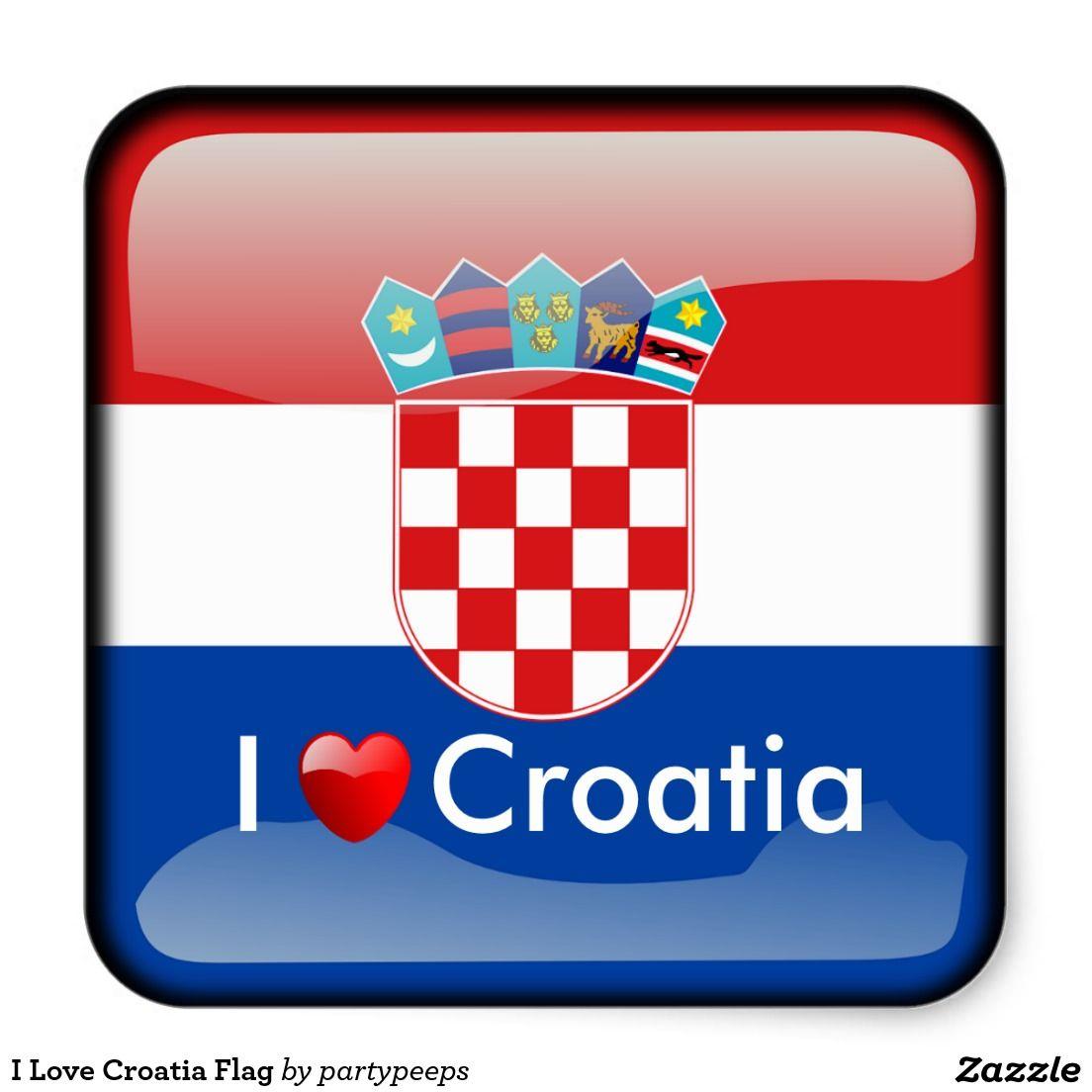 I Love Croatia Flag Square Sticker Kroatische Flagge Kroatien Flagge Kroatien