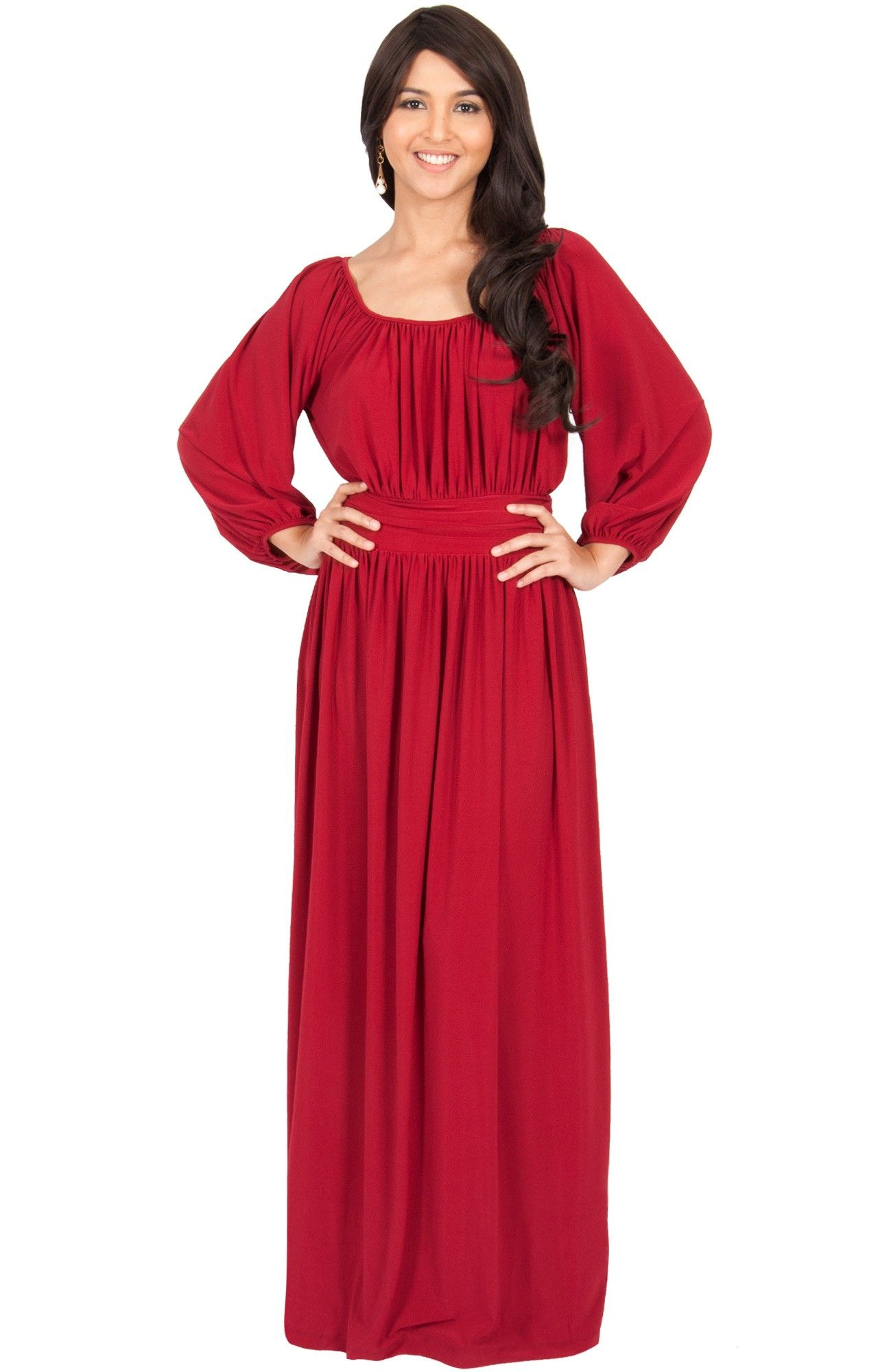 15a2b2261a17 FRANNY - Long Sleeve Peasant Casual Flowy Fall Modest Maxi Dress ...