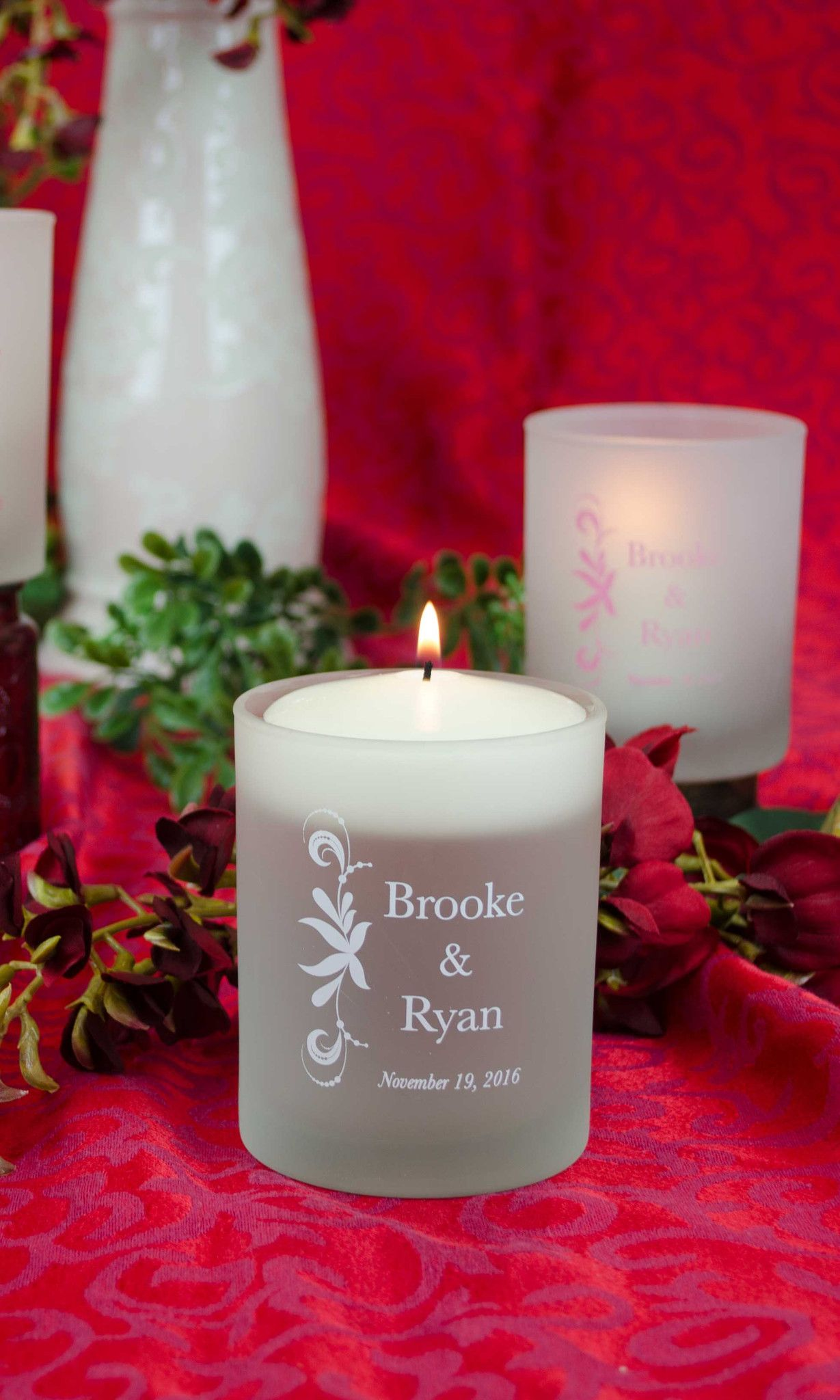 Frosted Tumbler wedding candles personalized wedding centerpieceswedding