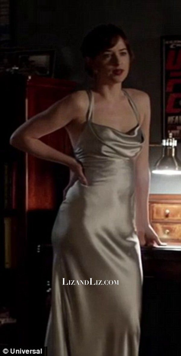 a7630b75a6 Dakota Johnson Silver Satin Prom Celebrity Dress In Movie